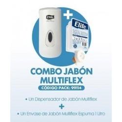 DISPENSADOR JABÓN MULTIFLEX BLANCO + UN ENVASE DE JABÓN ESPUMA MULTIFLEX 1 LT